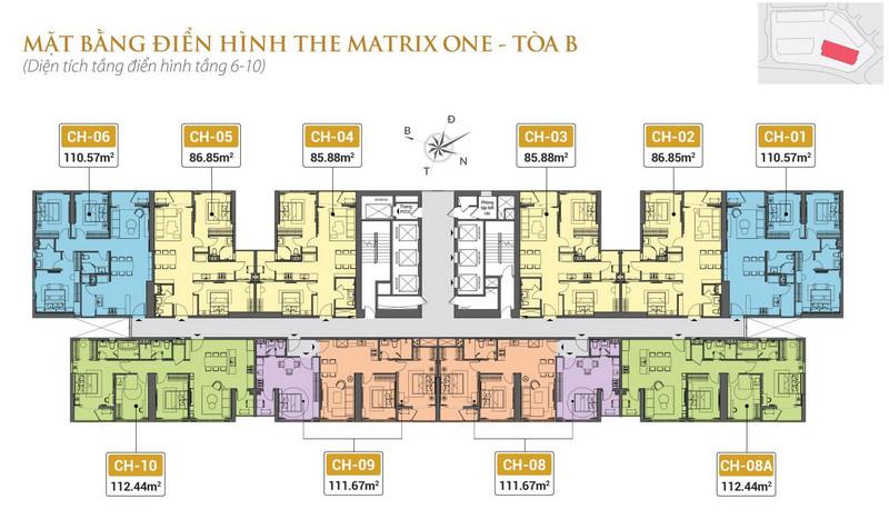 Mặt bằng điển hình tòa B - The Matrix One