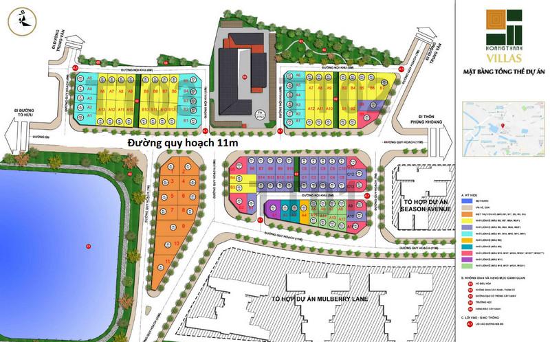 Mặt bằng chia lô dự án Hoàng Thành Villas