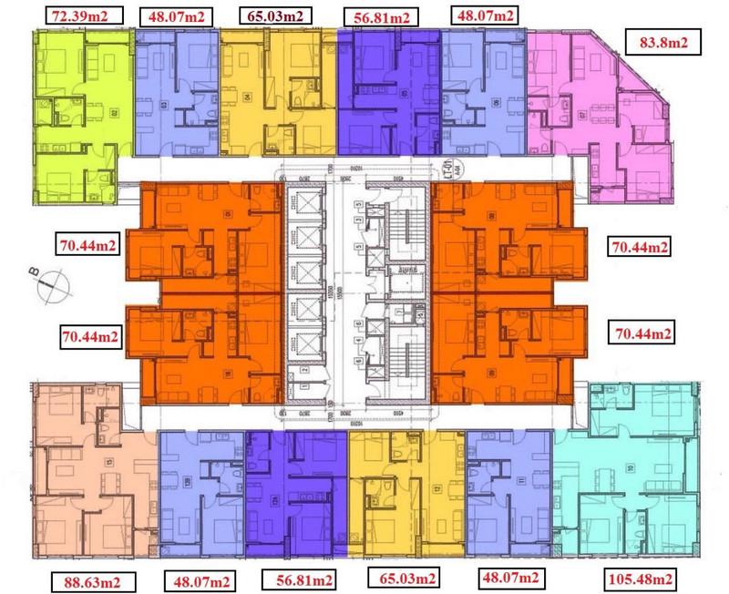 Mặt bằng điển hình chung cư T&T 120 Định Công
