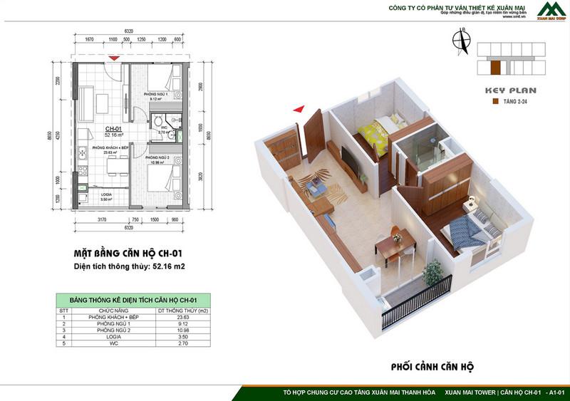 Thiết kế căn hộ điển hình 2PN