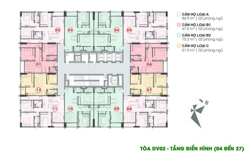 Mặt bằng điển hình chung cư DV2 - Rose Town tầng 4-27