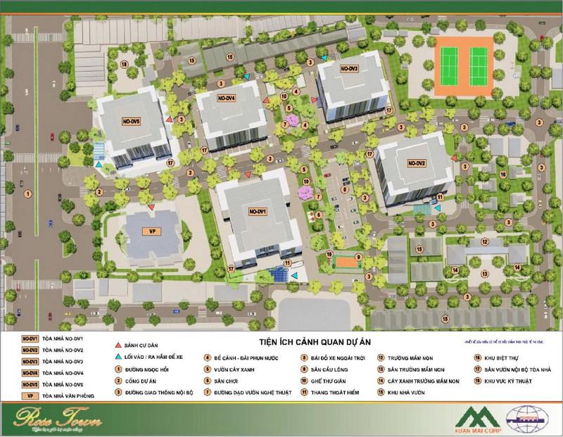 Mặt bằng tổng quan và vị trí tương ứng của các tòa nhà trong dự án Rose Town Ngọc Hồi