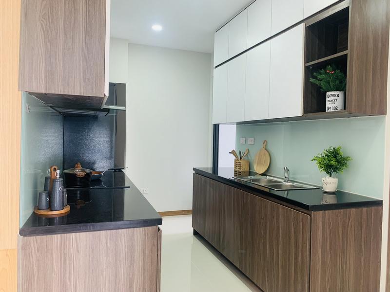 Khu bếp căn hộ mẫu thiết kế 3PN