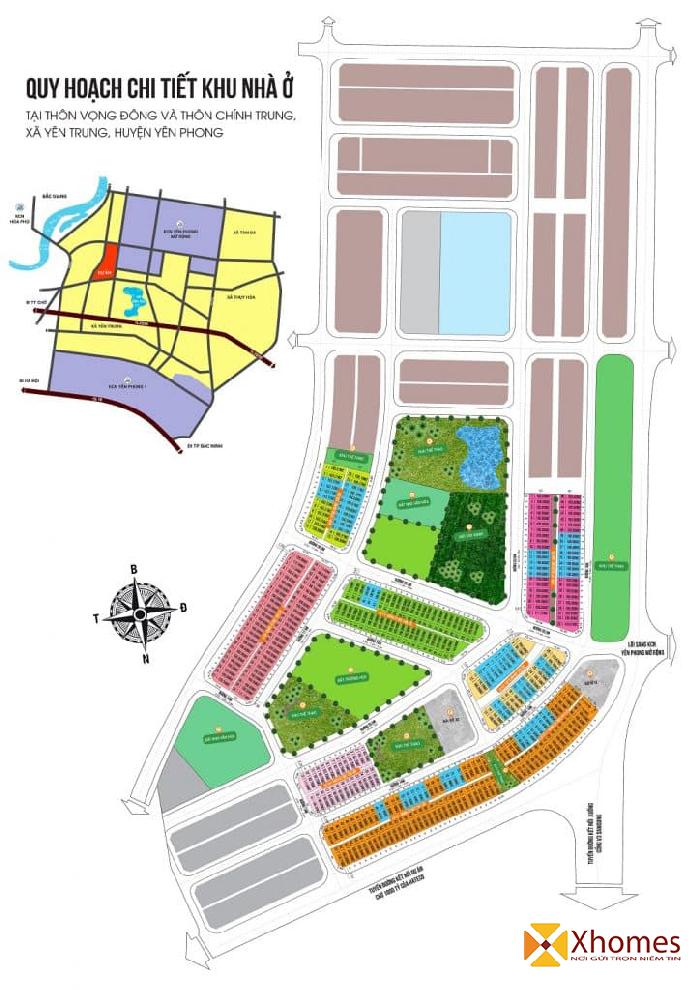 Sơ đồ quy hoạch dự án An Bình Vọng Đông, Chính Trung, Yên Trung, Yên Phong, Bắc Ninh