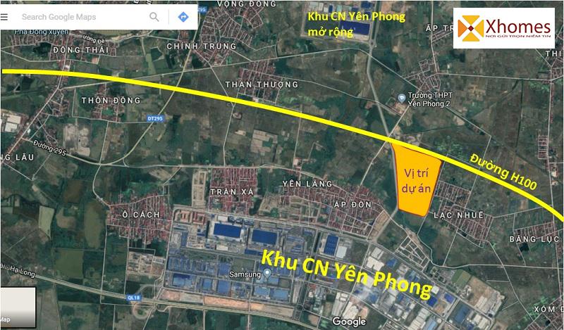 Vị trí dự án Cát Tường Smart City Yên Phong, Bắc Ninh