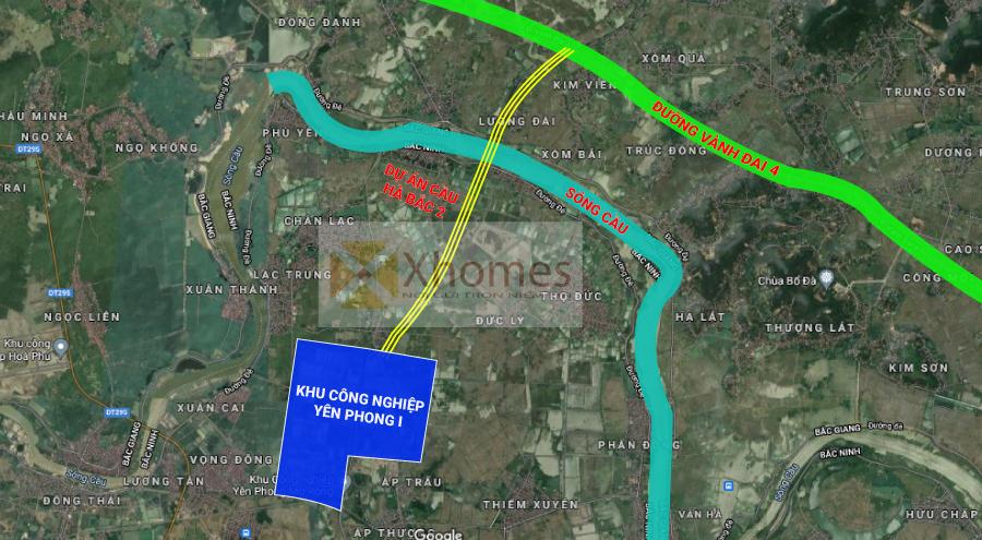 Bản đồ khu vực xây dựng cầu Hà Bắc 2