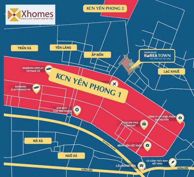 Dự án Shophouse Korea Town nằm gần KCN Yên Phong
