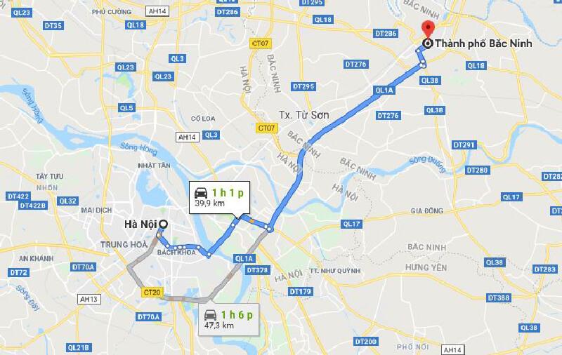 Khoảng cách từ TP.Bắc Ninh đến Hà Nội trên bẻn đồ