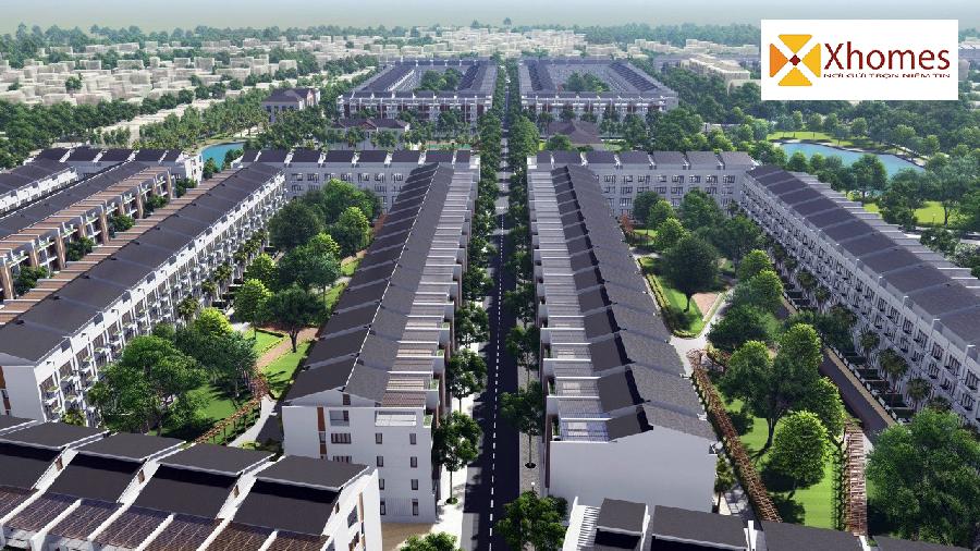 Phối cảnh đất nền khu nhà ở liền kề ở Khu Công Nghiệp Yên Phong