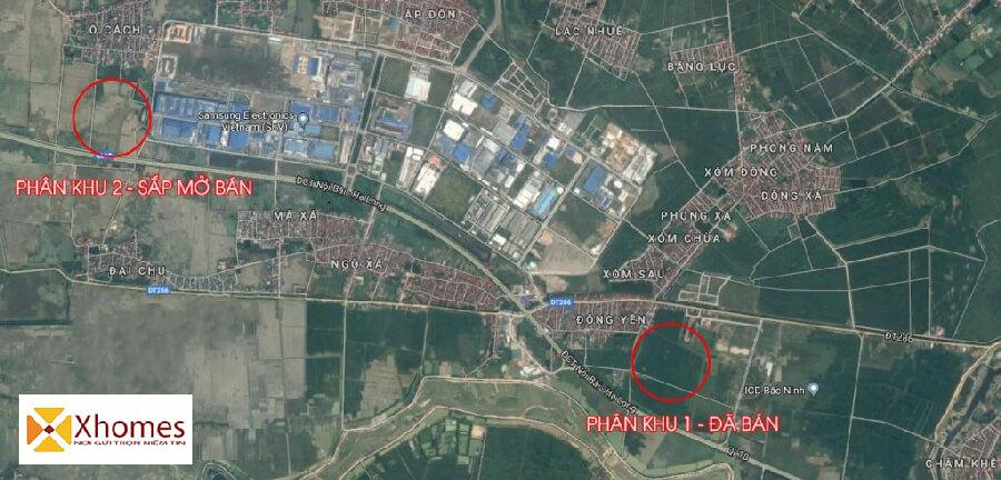 Bản đồ Google Map dự án KĐT Viglacera Đông Tiến Yên Phong