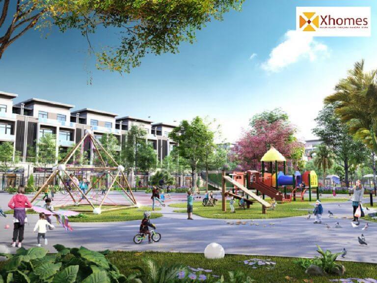 Phối cảnh công viên nằm trong nội khu dự án Long Châu Riverside