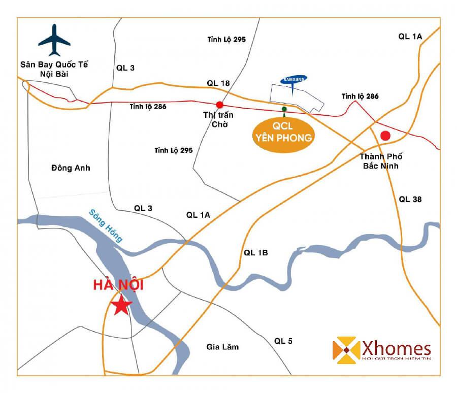 Vị trí dự án đất nền Khu Đô Thị QCL Yên Phong