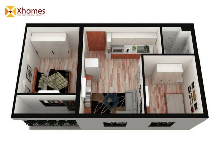 Thiết kế căn hộ 45m2 nhà ở xã hội Bắc Kỳ