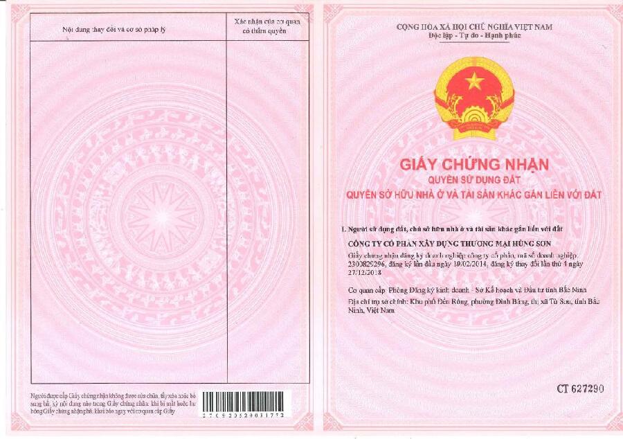 Giấy tờ sử dụng đất của dự án Yên Trung Residence Yên Phong Bắc Ninh