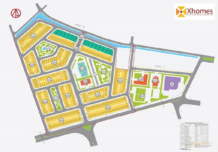 Sơ đồ mặt bằng dự án Khu đô thị mới Hải Quân Tam Giang Yên Phong Bắc Ninh