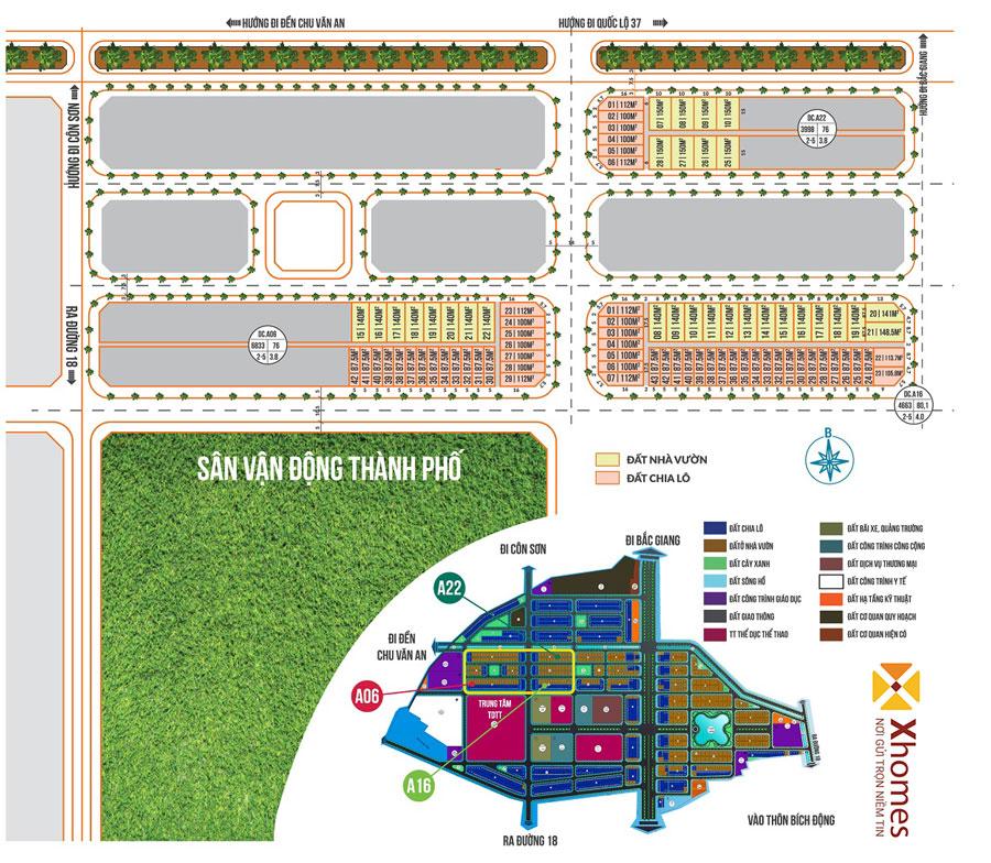 Mặt bằng phân lô dự án Chí Linh Palm City – Hải Dương