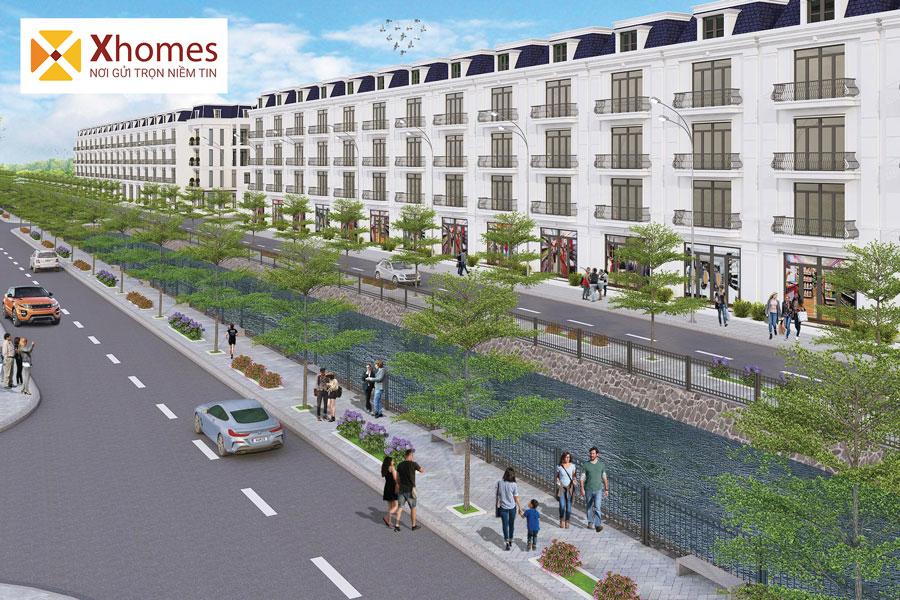Phối cảnh của sản phẩm nhà ở liền kề tại dự án khu đô thị Chí Linh Palm City ban ngày