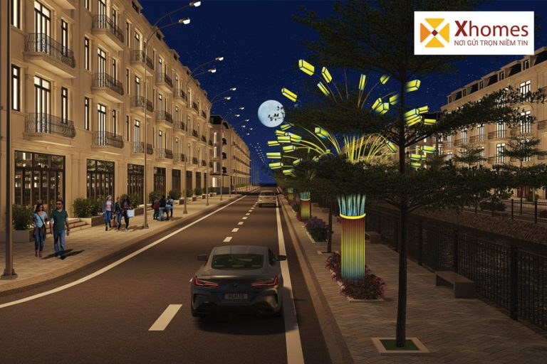 Phối cảnh của sản phẩm nhà ở liền kề tại dự án khu đô thị Chí Linh Palm City ban đêm