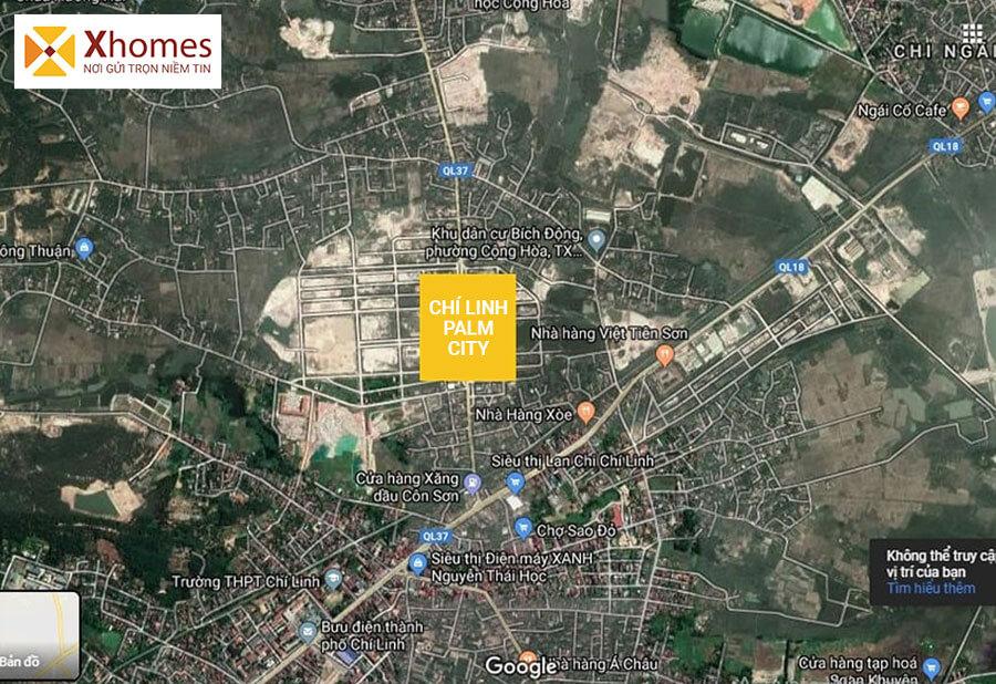 Hình ảnh vị trí trên Google Maps của dự án Chí Linh Palm City