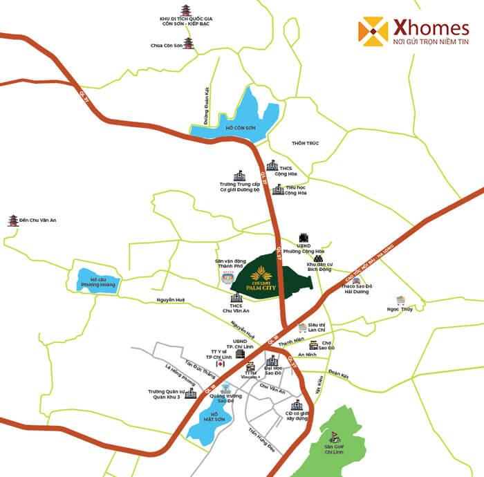Liên kết vùng kết nối vạn năng của dự án KĐT Chí Linh Palm City
