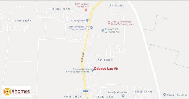 Vị trí dự án Khu nhà ở Dabaco Lạc Vệ Tiên Du tỉnh Bắc Ninh