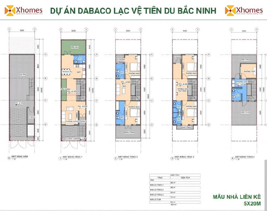 Phối cảnh liền kề dự án Dabaco Lạc Vệ Tiên Du Bắc Ninh