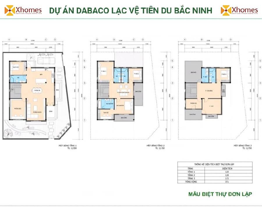 Phối cảnh biệt thự tại Khu nhà ở Dabaco Lạc Vệ Tiên Du Bắc Ninh