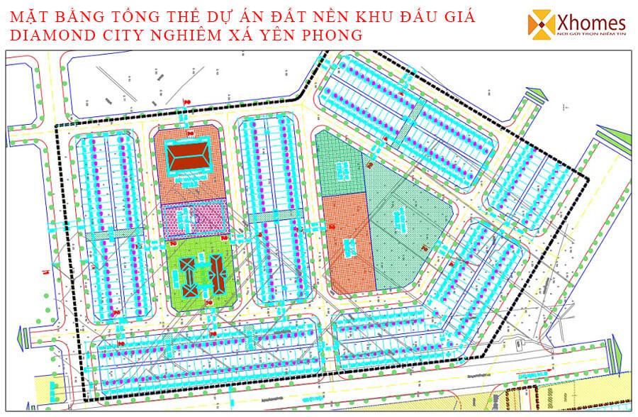 Mặt bằng phân lô dự án Diamond City Yên Phong
