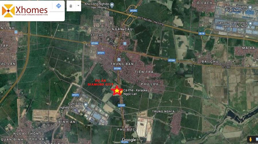 Vị trí dự án Đất Nền Diamond City Nghiêm Xá Yên Phong