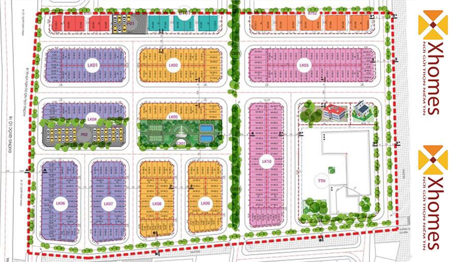 Mặt bằng tổng thể chi tiết nội khu Nam Thắng Residence