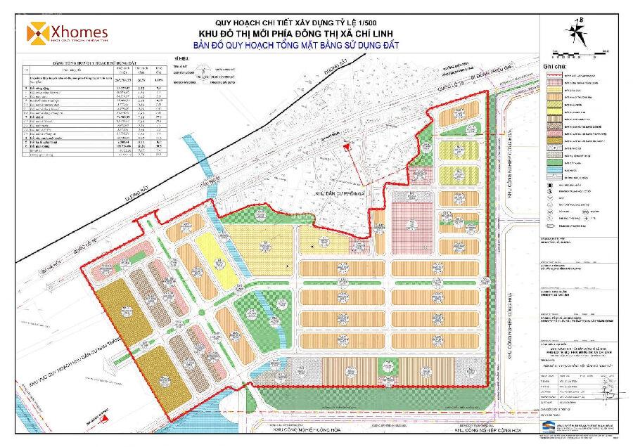 Mặt bằng quy hoạch tổng thể dự án Chi Linh North Eastern Hill tại Hải Dương