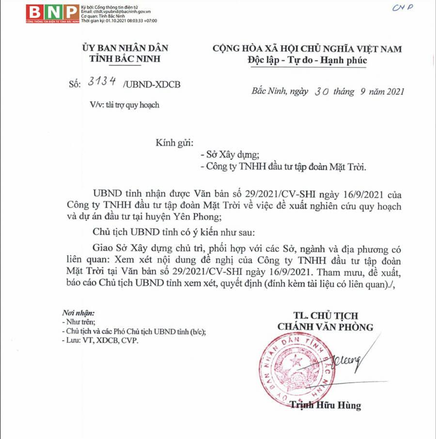 Bản đề xuất của Công ty TNHH đầu tư tập đoàn Mặt Trời về dự án tại Yên Phong