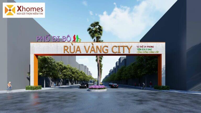 Cổng vào phố đi bộ dự án Rùa Vàng City Bắc Giang