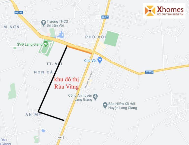 Vị trí dự án Khu Đô Thị phía Tây Thị trấn Vôi - Rùa Vàng City Bắc Giang