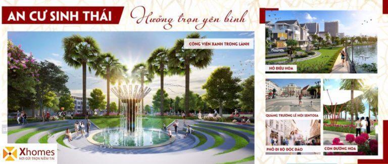 Hệ sinh thái thiên nhiên cây xanh của dự án Khu Đô Thị Rùa Vàng City