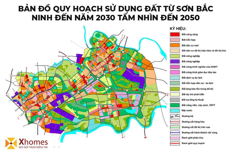 Bản đồ quy hoạch sử dụng đất tại Từ Sơn Bắc Ninh đến năm 2030 tầm nhìn 2050