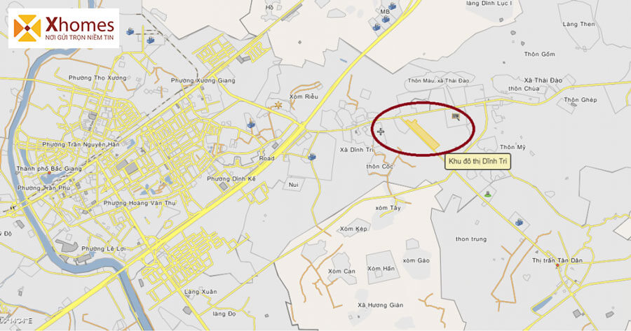 Vị trí dự án KĐT Dĩnh Trì tại Bắc Giang - Nút thắt trọng điểm