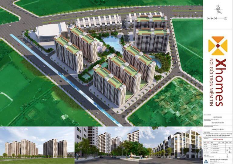 Quang cảnh thiên nhiên cây xanh của dự án nhà ở công nhân KCN Yên Phong, Bắc Ninh