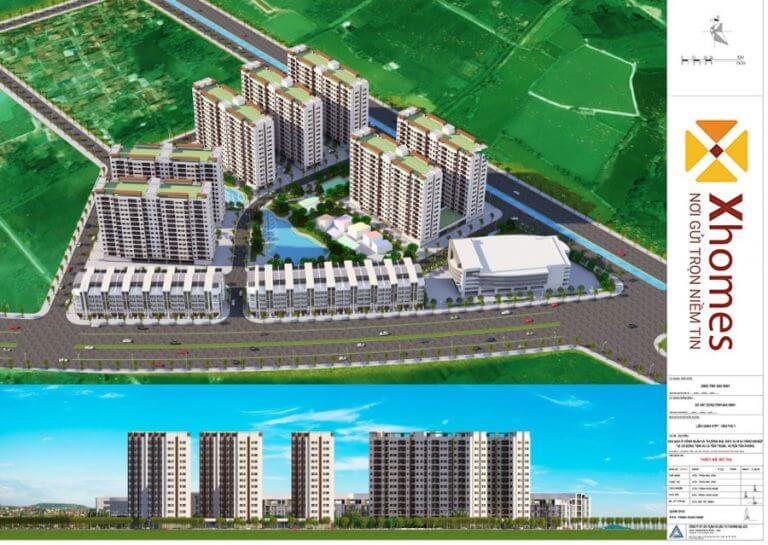 Phối cảnh tổng thể dự án khu nhà ở công nhân, thương mại - dịch vụ KCN Yên Phong