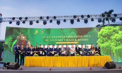 Đại diện các sàn cùng chủ đầu tư tham gia ký kết hợp đồng phân phối dự án Ivory Villas & Resort